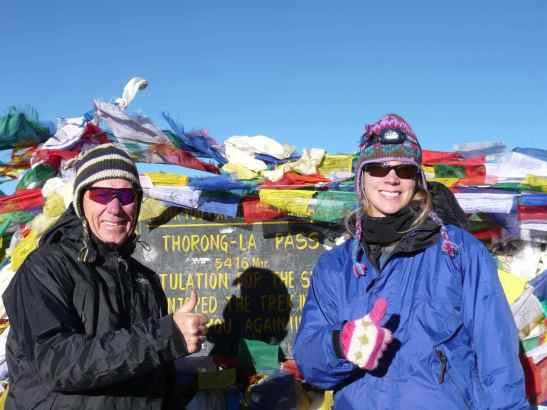My dad and I at Thorong-La Pass in Nepal, the highest point of the Annapurna Trek. 2010.