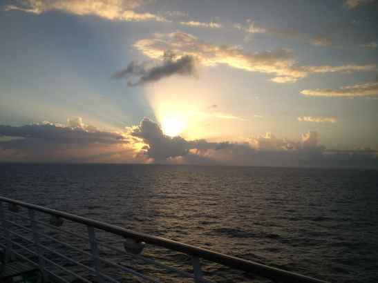Sun setting across the Caribbean